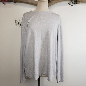 Orvis super soft gray and white crewneck top
